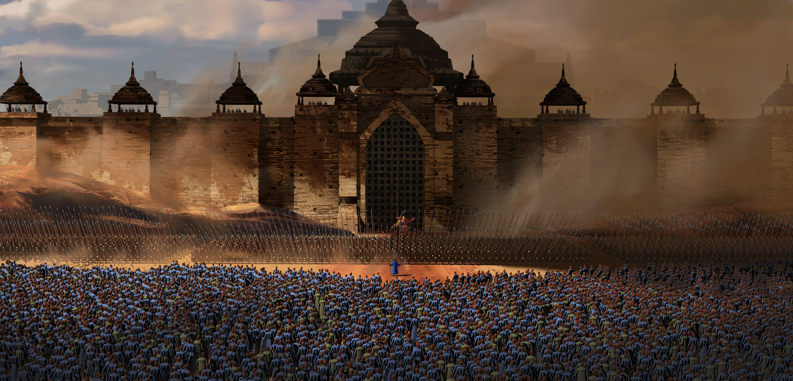 A confrontation between outcast citizens and the guards of the city.