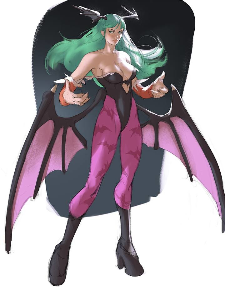 Morrigan! my first fan art of Darkstalkers, old animes are the best
