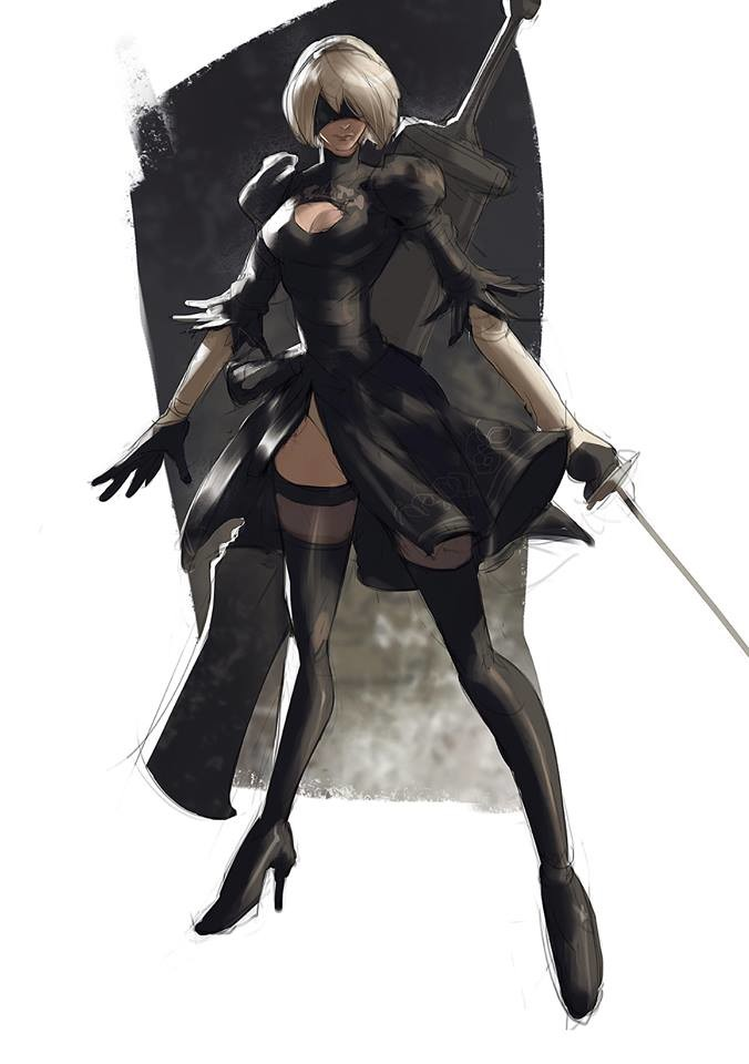 NieR Automata! break from animals today, inspired by one of my favorite artists Kim Il Kwang