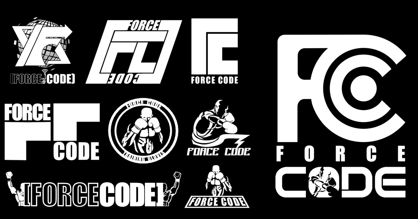 Logo Explorations with chosen Logo on the right