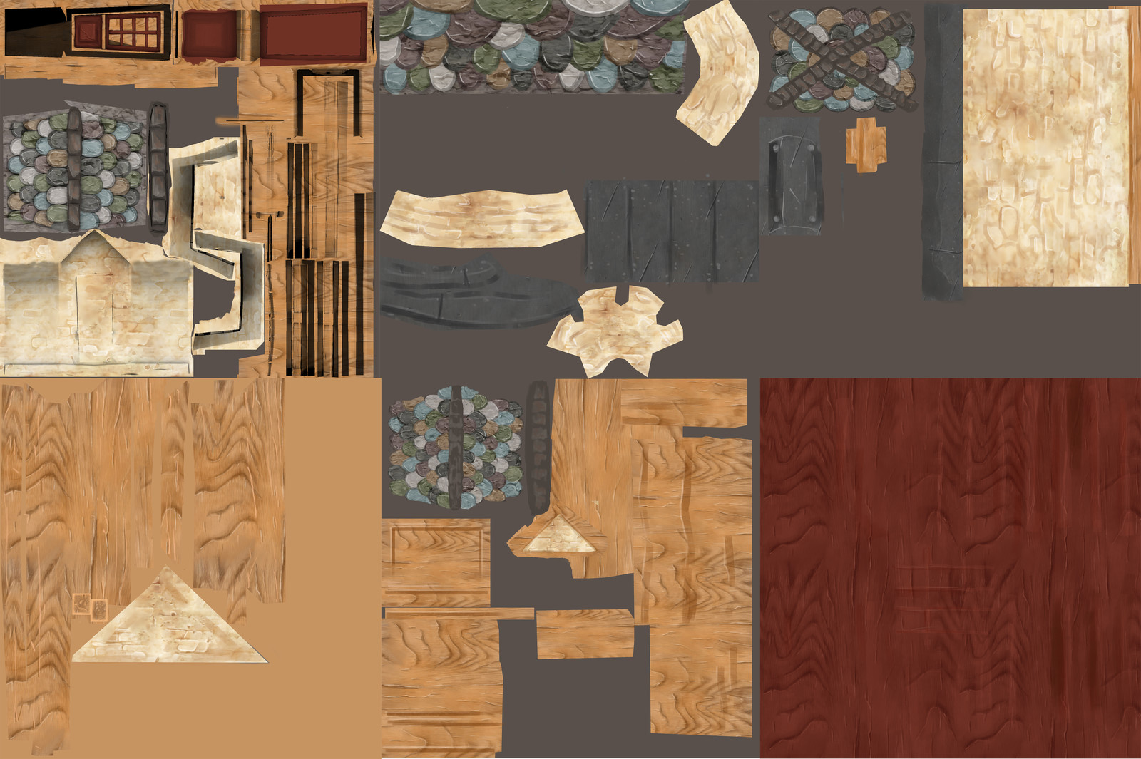 Joust texture 2. Some of the specific diffuses I made from the Ambiant Occlusion map of assets made by another classmate .