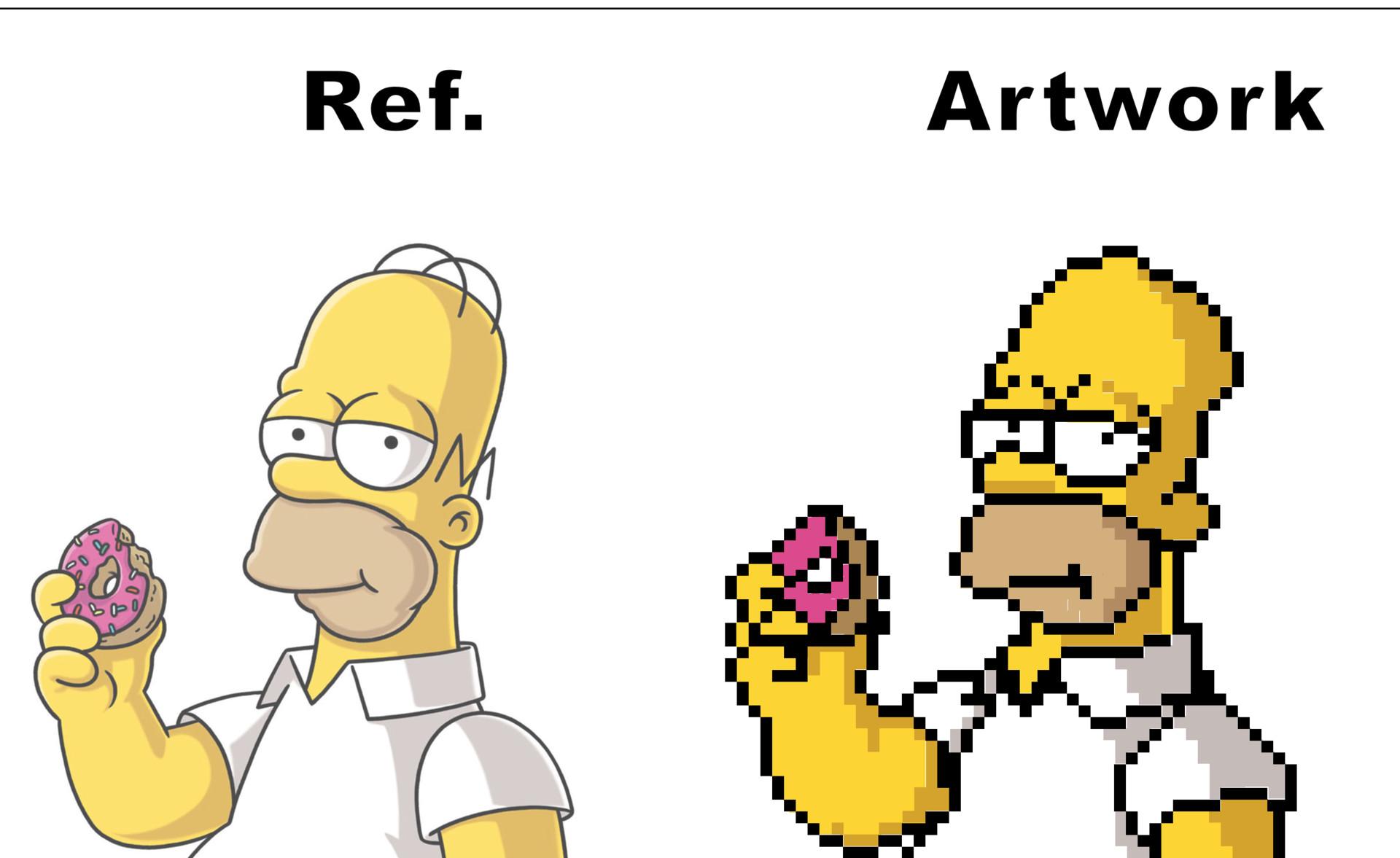 Artstation Fan Pixel Art Of Homer Simpson Anders Dahl