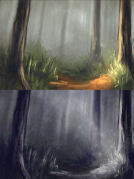 Quick forest with lighting variants