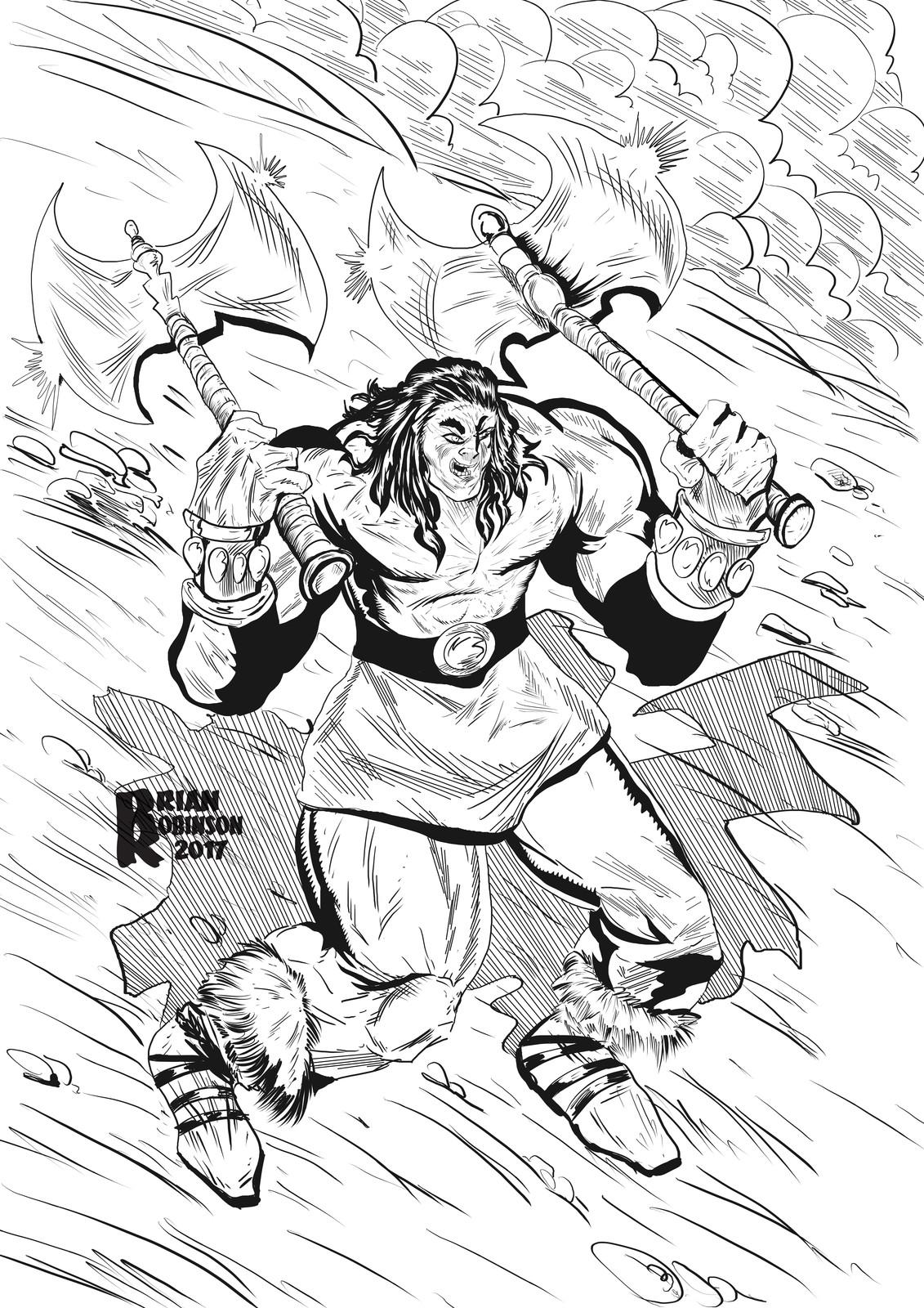 Conan the Barbarian drawing pinup by Brian Robinson