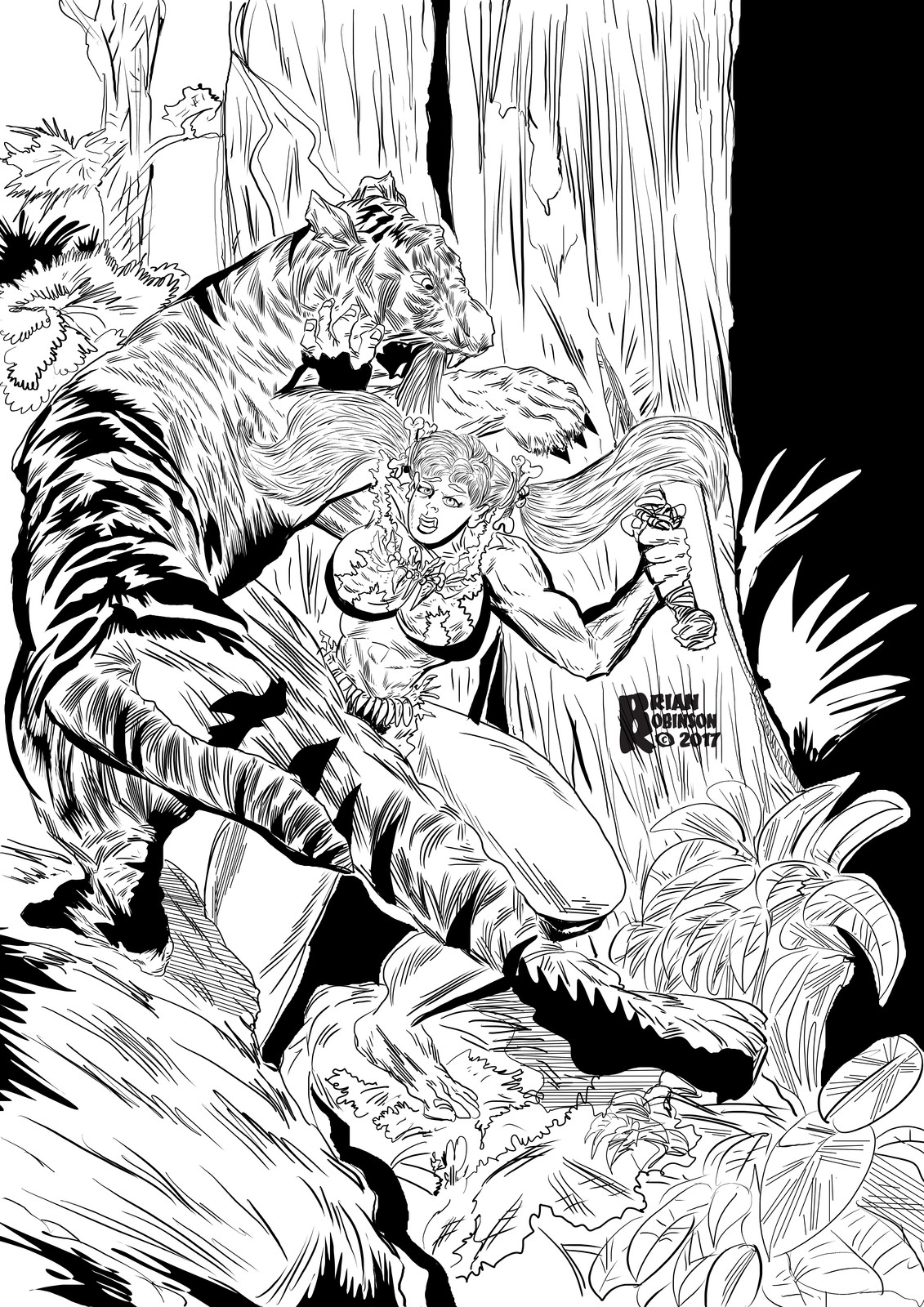 Jungle woman in jungle fighting off Tiger pinup by Brian Robinson