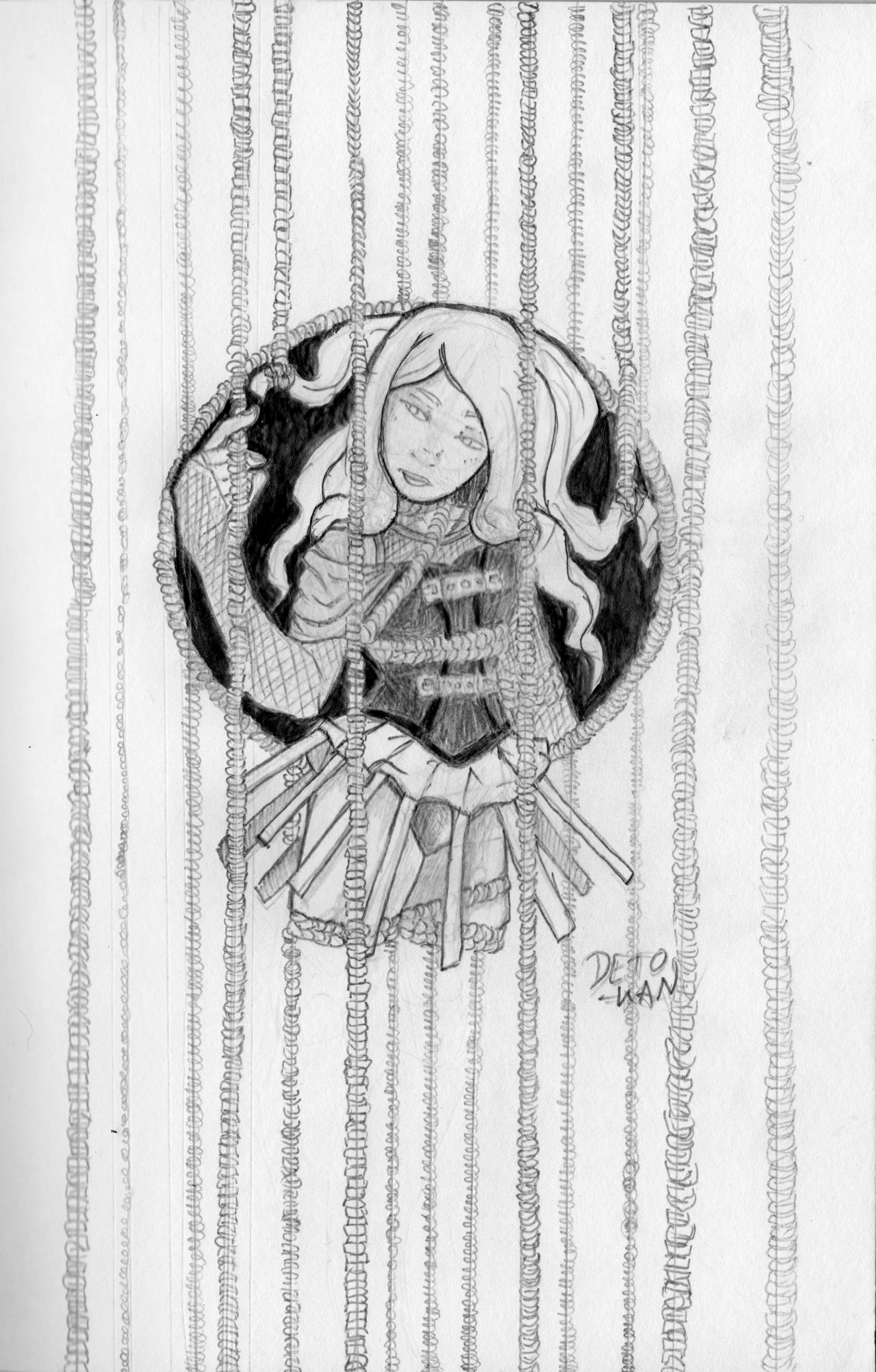 Detonya kan caged rose initial sketch