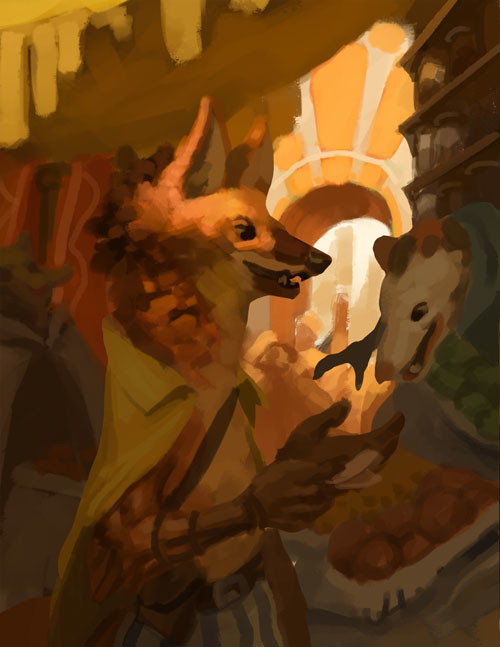 The earliest stage of the painting as a lighting exercise.