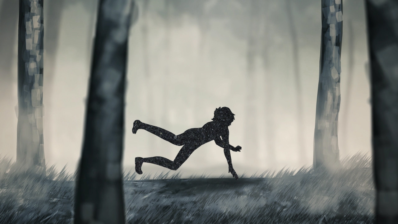 A screen from the opening cinematic, featuring Brielle when she trips and becomes separated from her friend.
