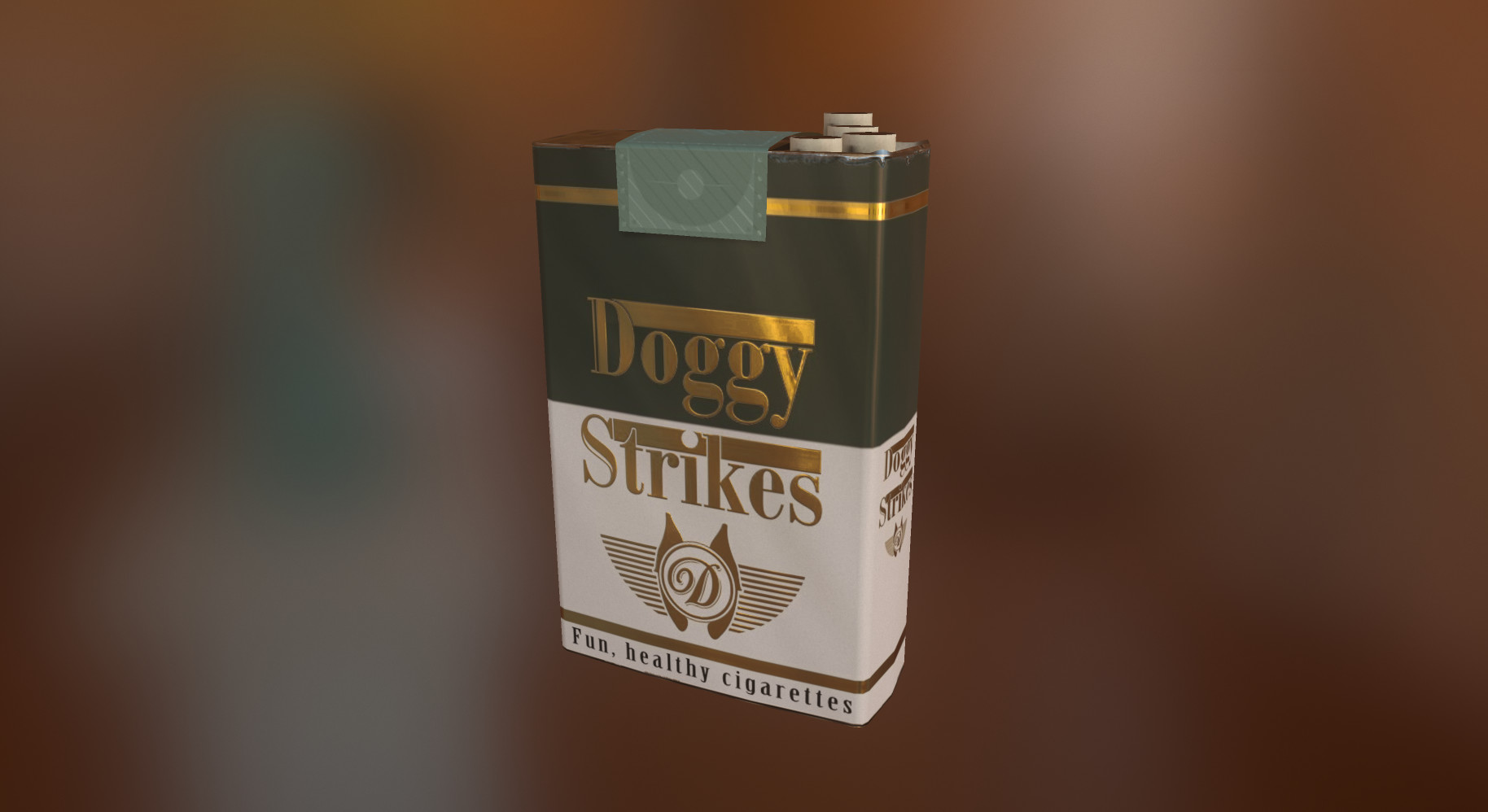 Final version of the 'Doggy Strikes' cigarette pack rendered in Marmoset