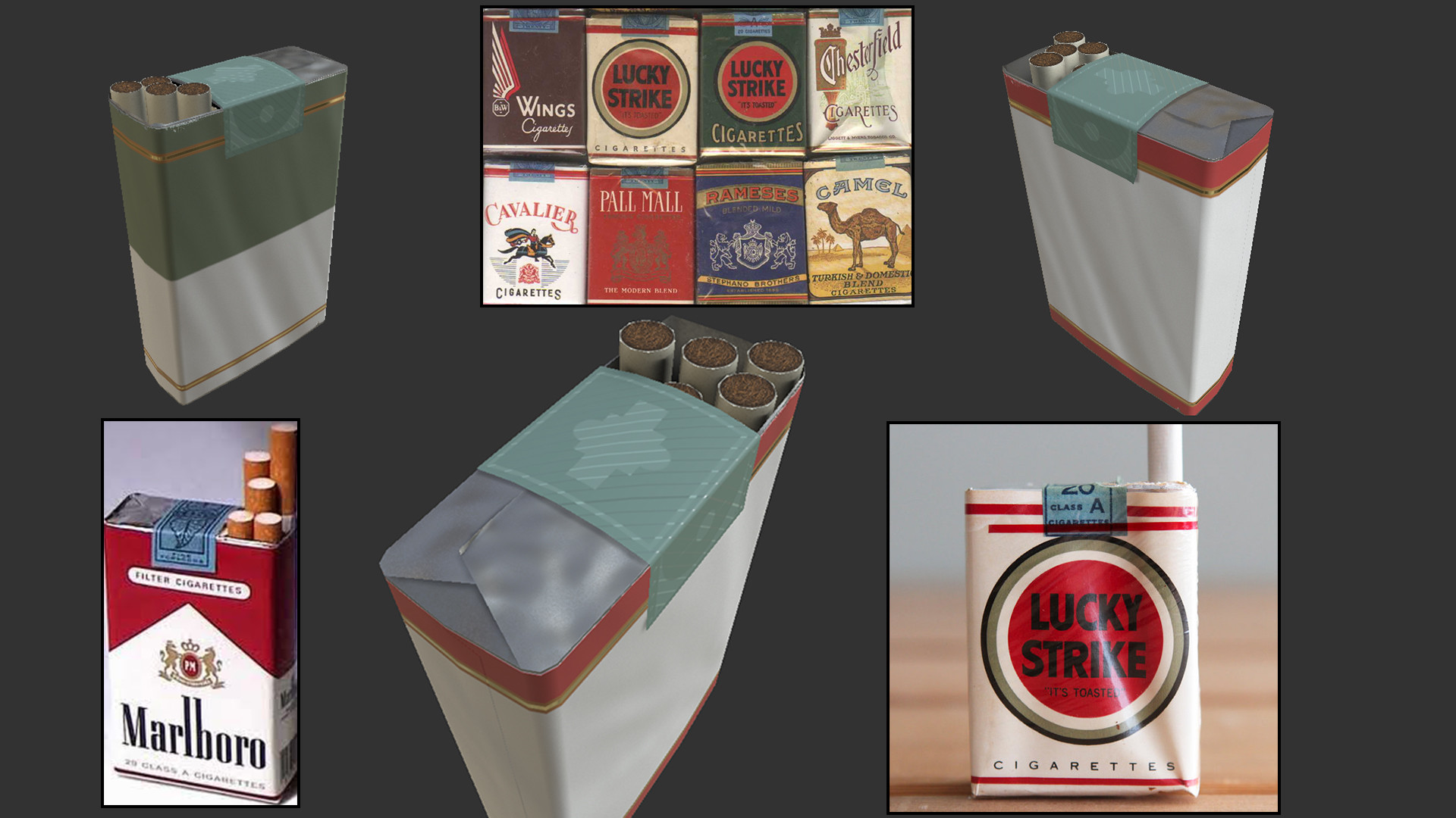 Reference and early iterations of the cigarette soft pack