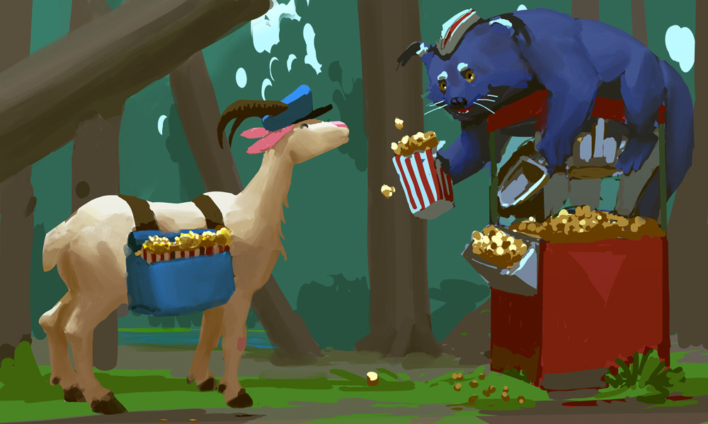 The delicious smell of freshly popped corn, I wonder where mailgoat is going with all that popcorn?