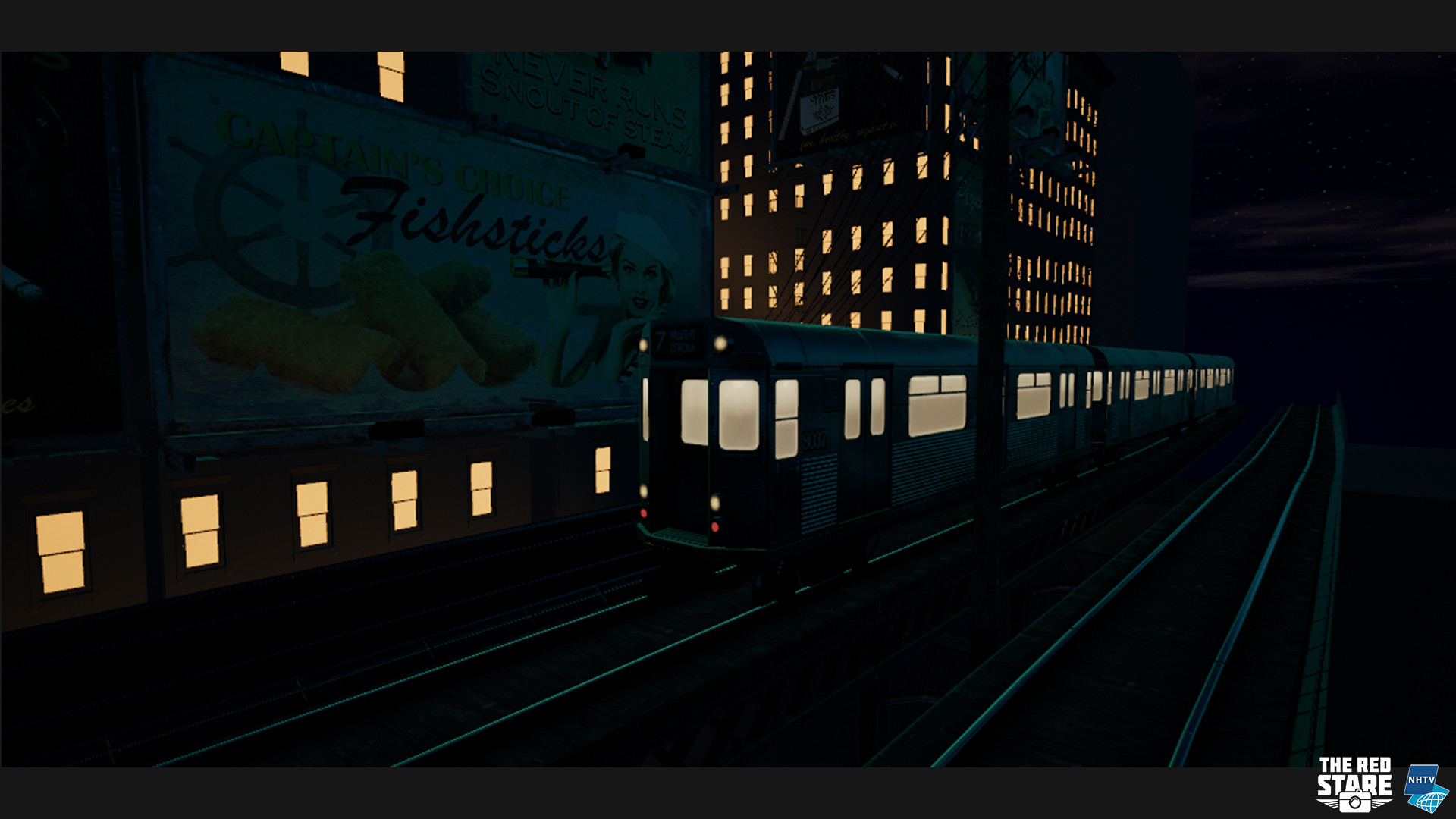 The subway at night, maybe the interior lights could be a bit warmer.