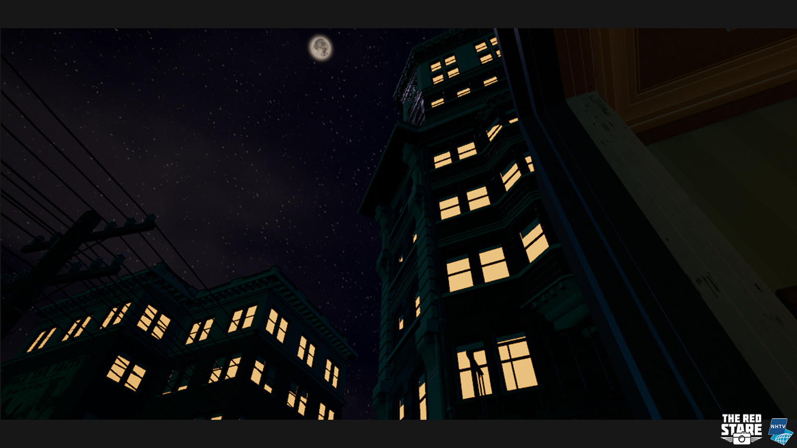 Ingame screenshot of the players view on the building at night.