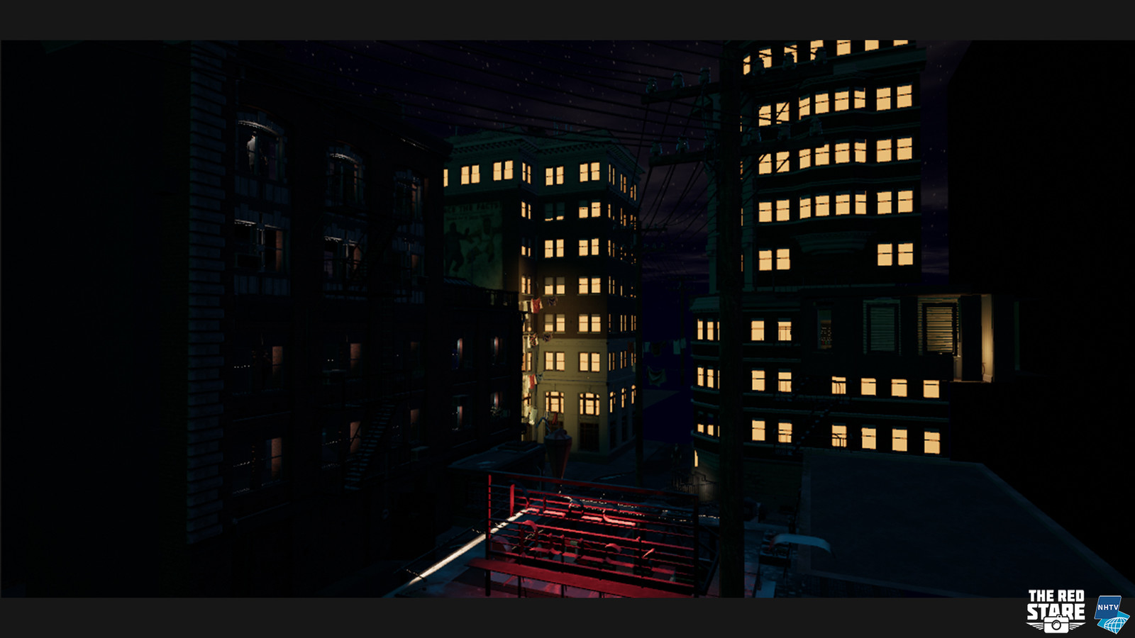 The environment at night, the building on the left still needs to be lit properly.