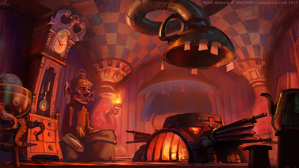 Kitchen where players make cake and are supervised by angry Dutchess.