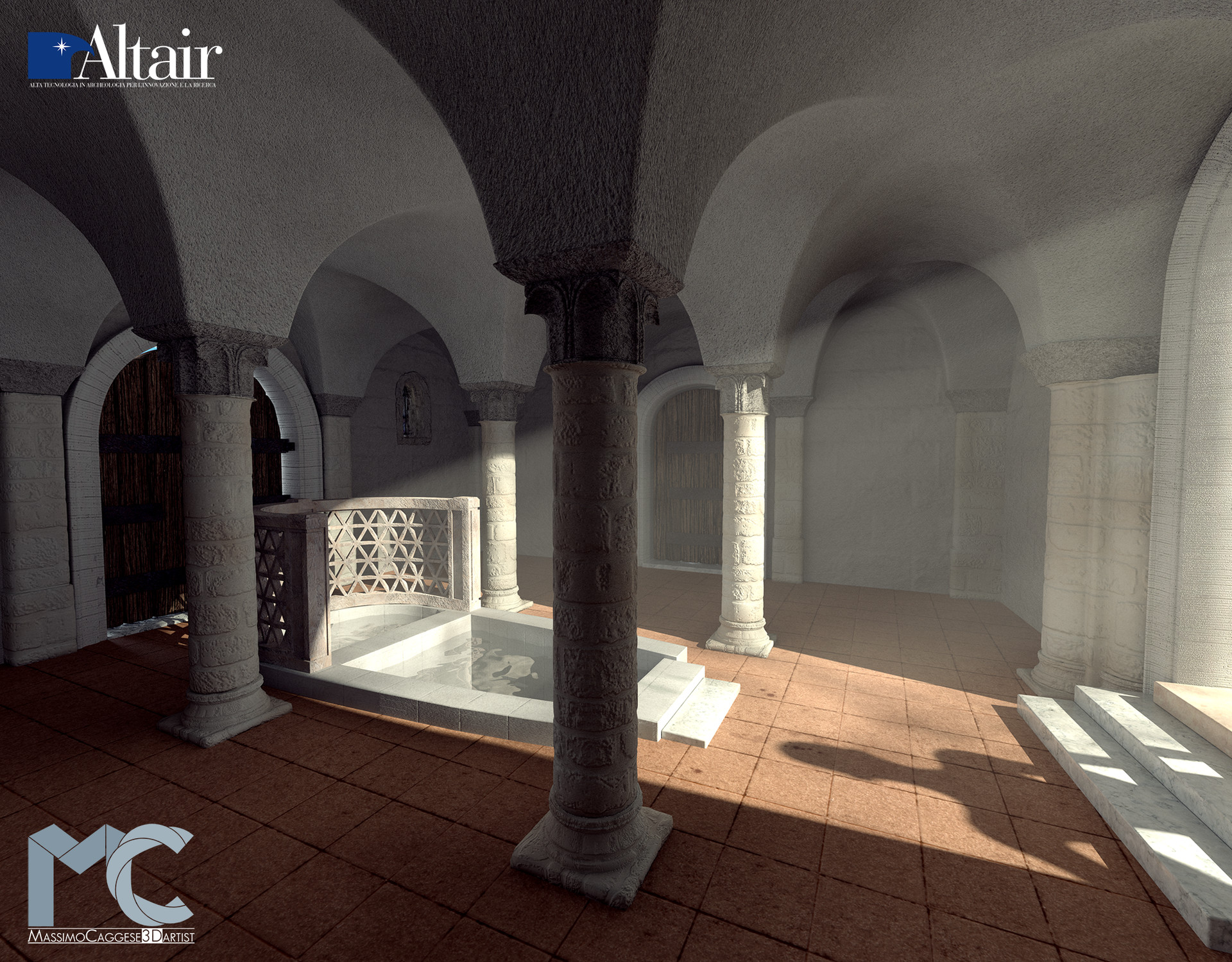 Interior rendering of the baptistery (Blender Cycles).