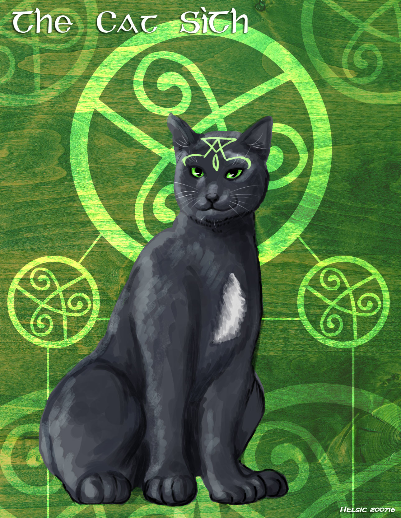 The Cat Sìth is a fairy creature from Celtic mythology, said to resemble a large black cat with a white spot on its chest. Legend has it that the spectral cat haunts the Scottish Highlands. The legends surrounding this creature are more common in Scottis