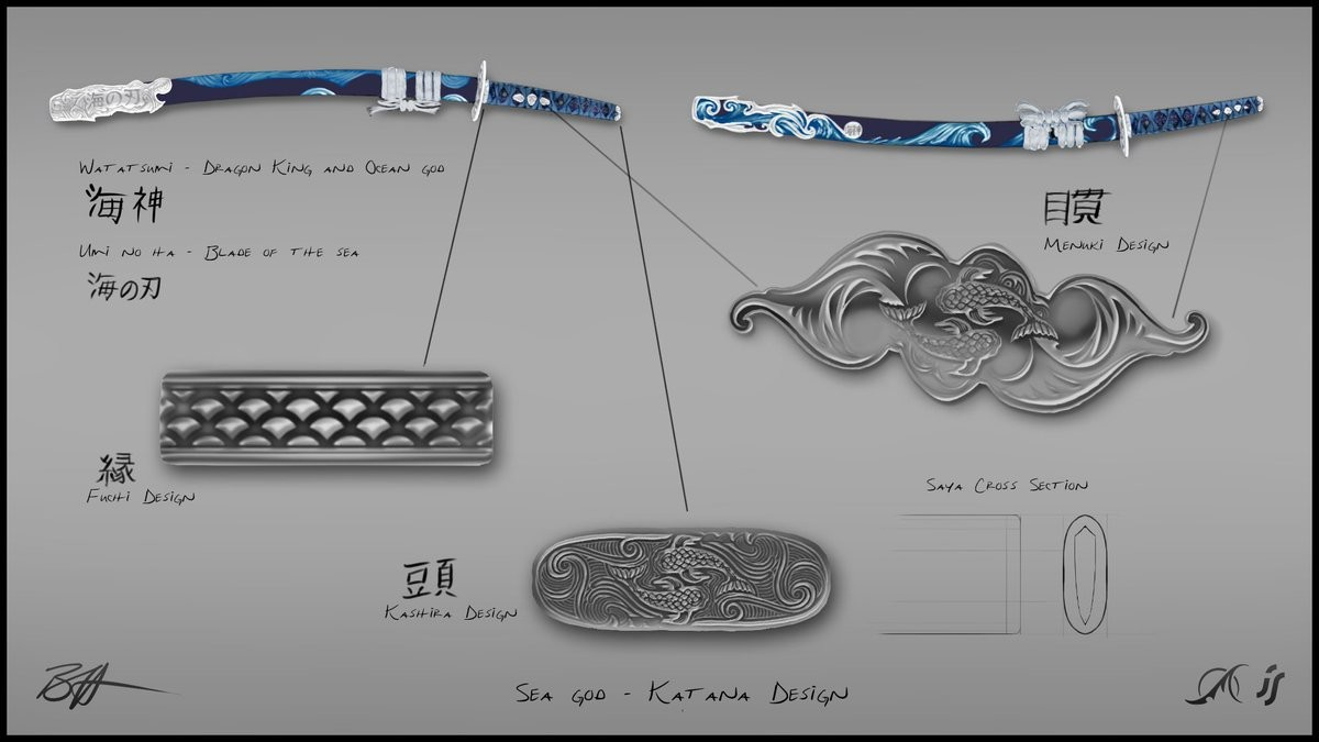 Finished Katana concept w/ detail enlargements