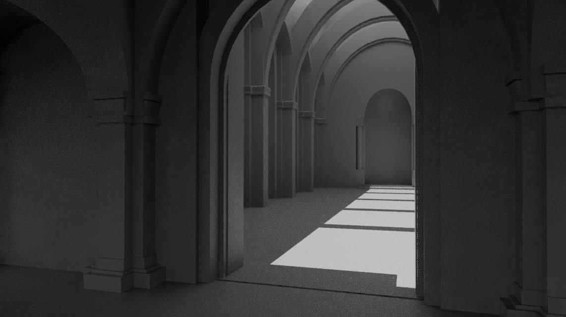 The best thing about building in 3D is being able to put the camera anywhere - looking into the great hall.