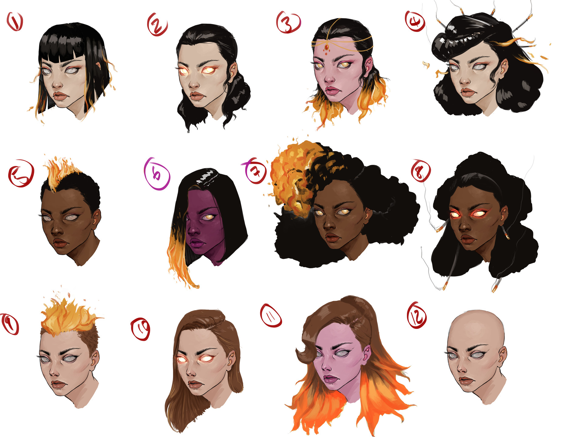 Tumo mere fire witch face concept sheet 1