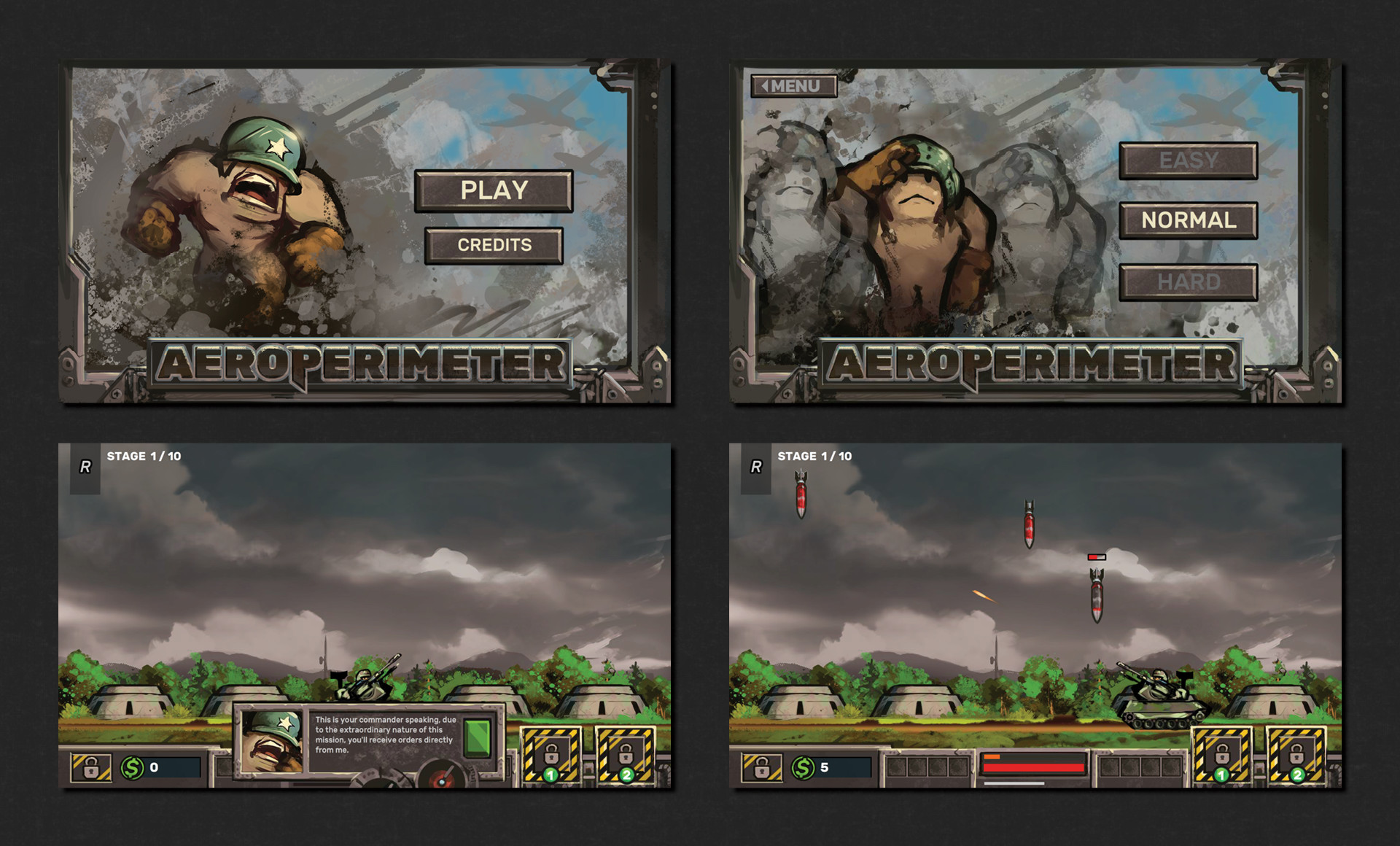 Main menu and first views inside the game.