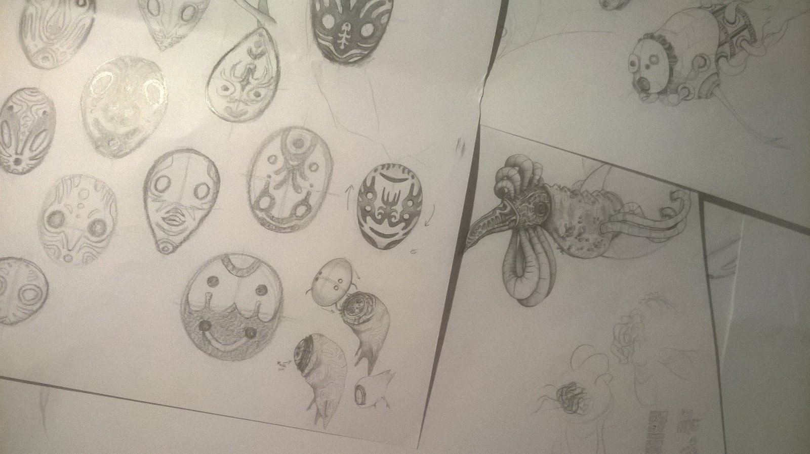 Concept Art - Scribbles for the turning mask & the spirits of poison