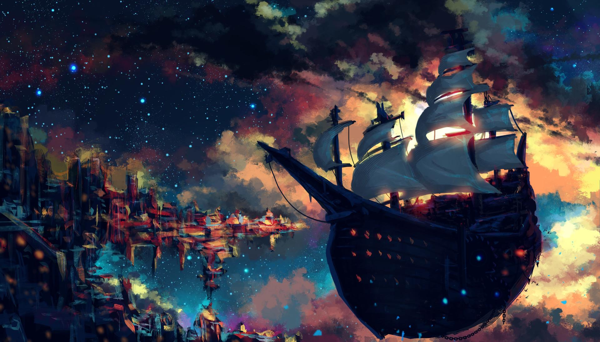 фэнтези картинки парусные корабли в космосе счет таких заготовок