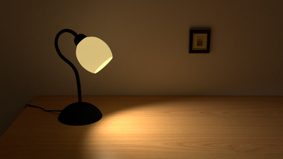 Lamp in a dark room