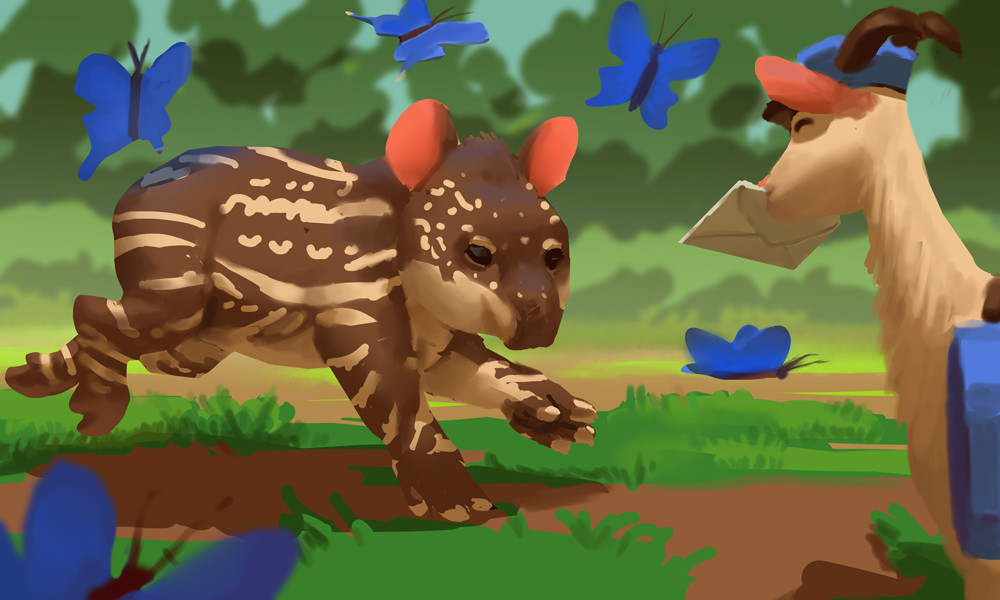 Baby tapir having fun with butterfly friends~