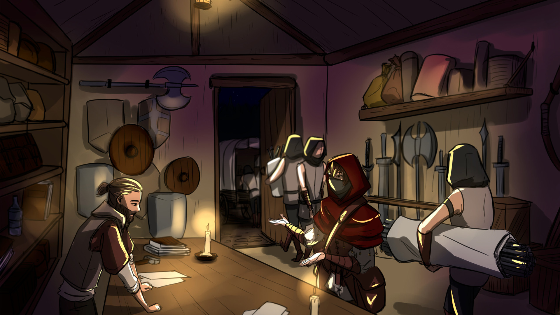The merchant is getting ready for a job, his workers loading up the caravan with weapons