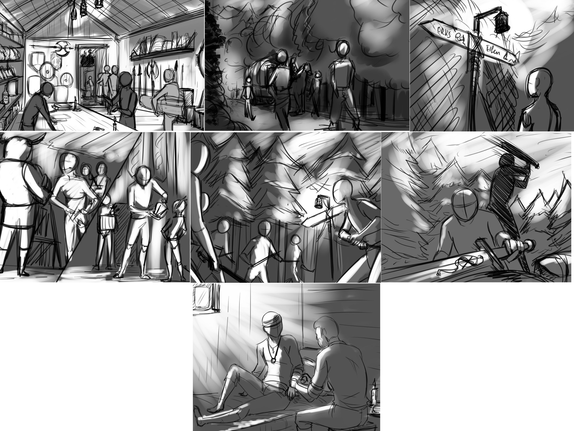 Rough storyboard sketches for each panel