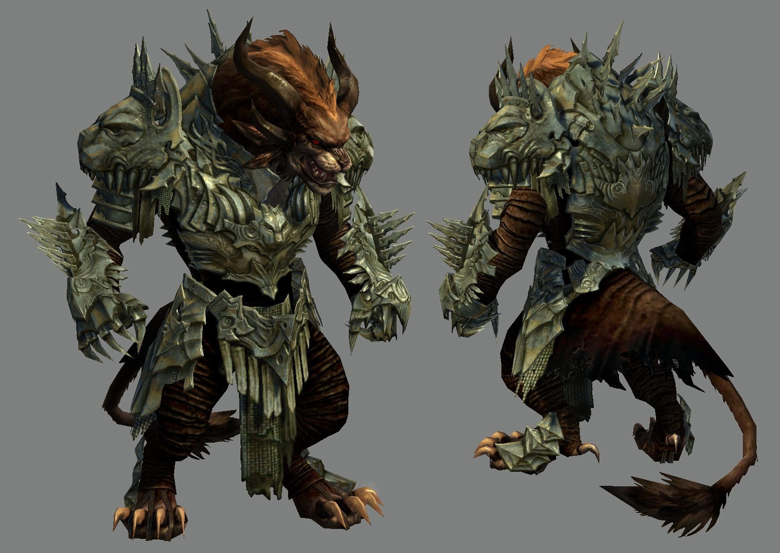 I modeled and textured this armorset based on a design by Kekai Kotaki. Rytlock/Charr base body by Kristen Perry and Susan Jessup.
