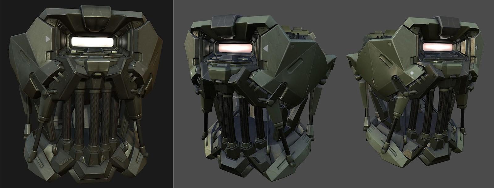 I modeled and textured the armorset based on a design by Scott Kikuta.