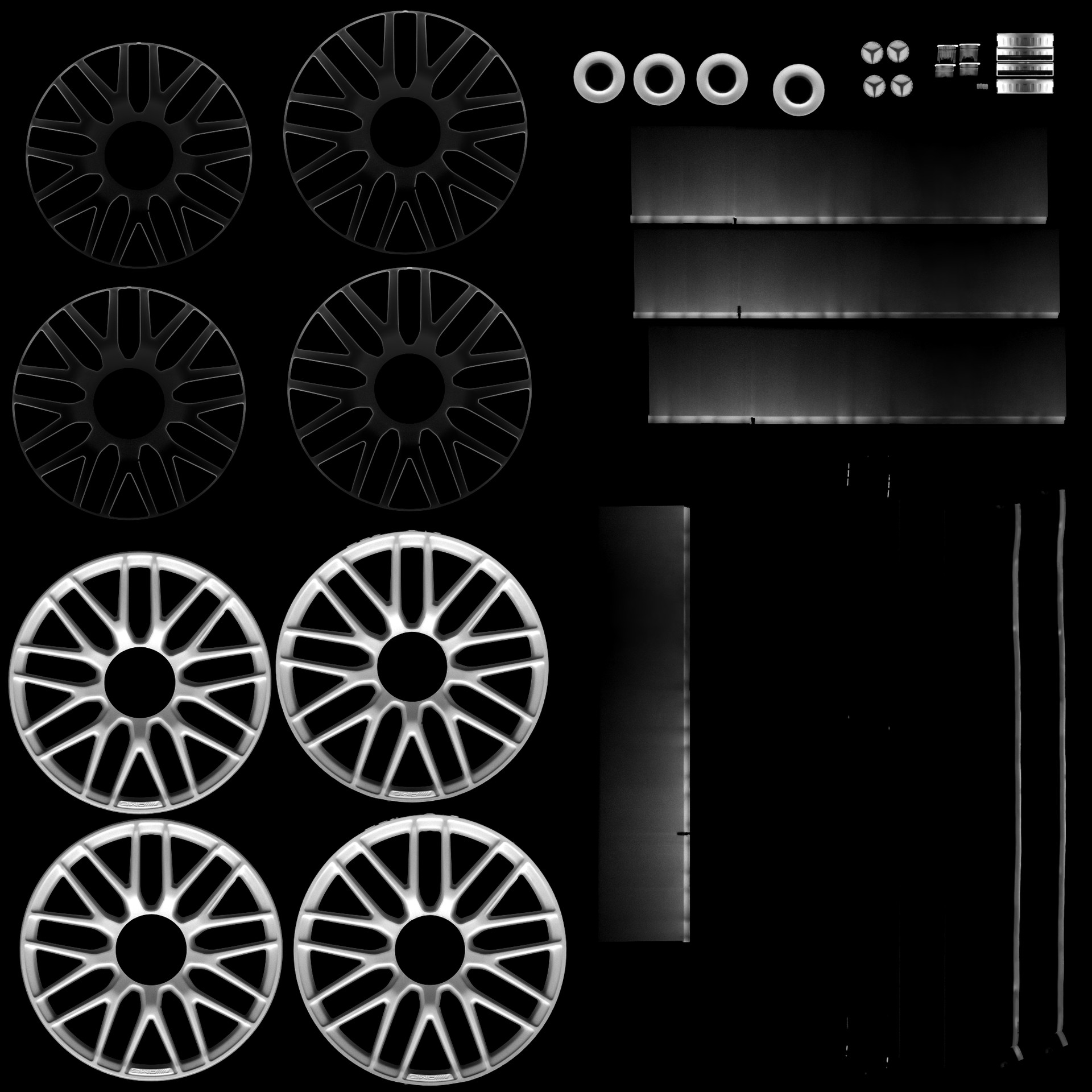 Wheel ambient occlusion maps.