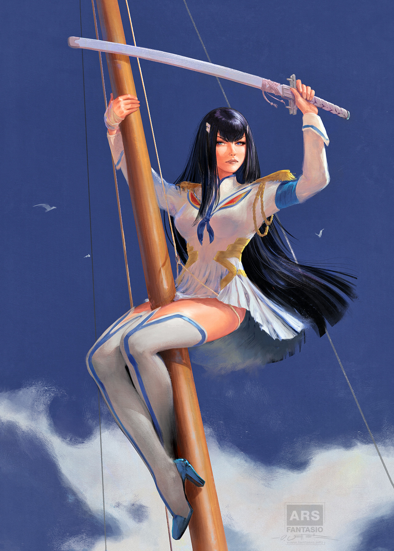 Satsuki - Kill La Kill Homage after Elvgren