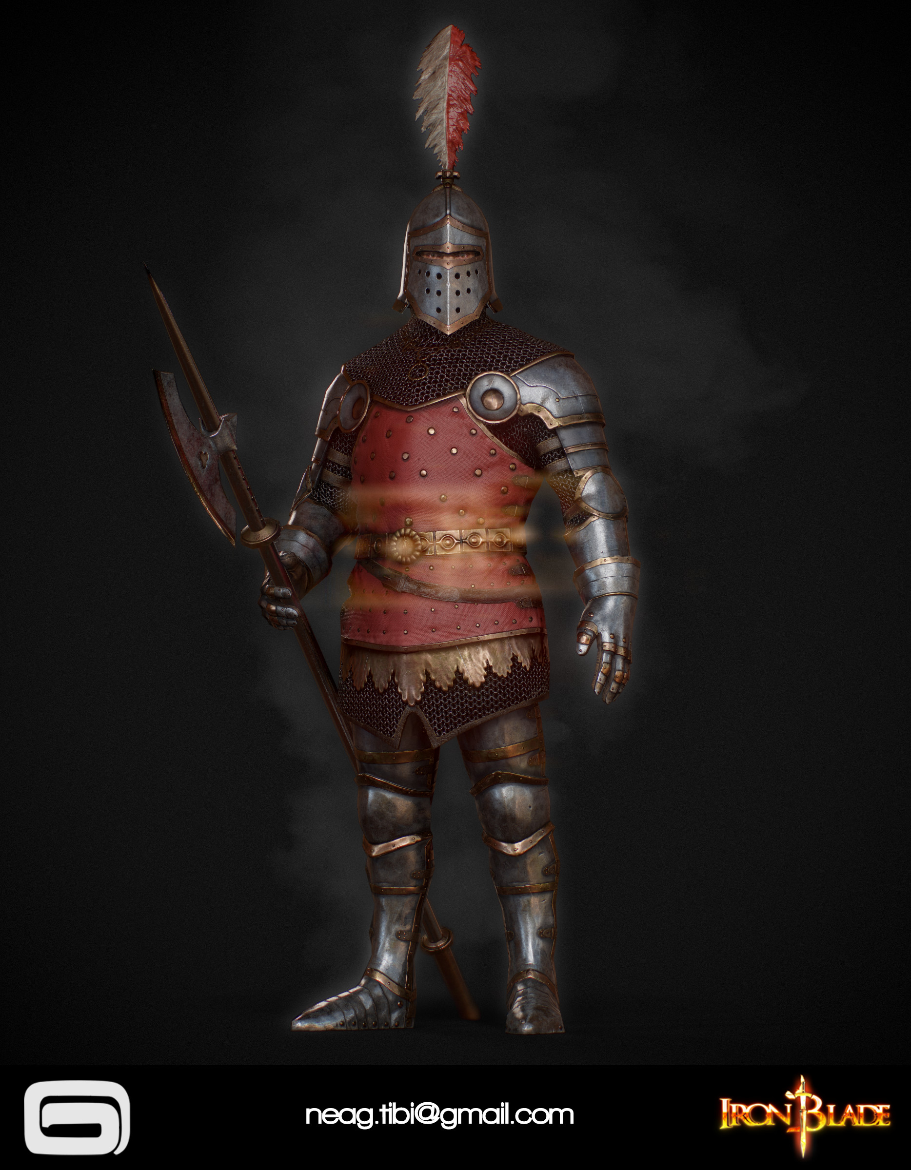 Tibi neag tibi neag iron blade royal guard low poly 02