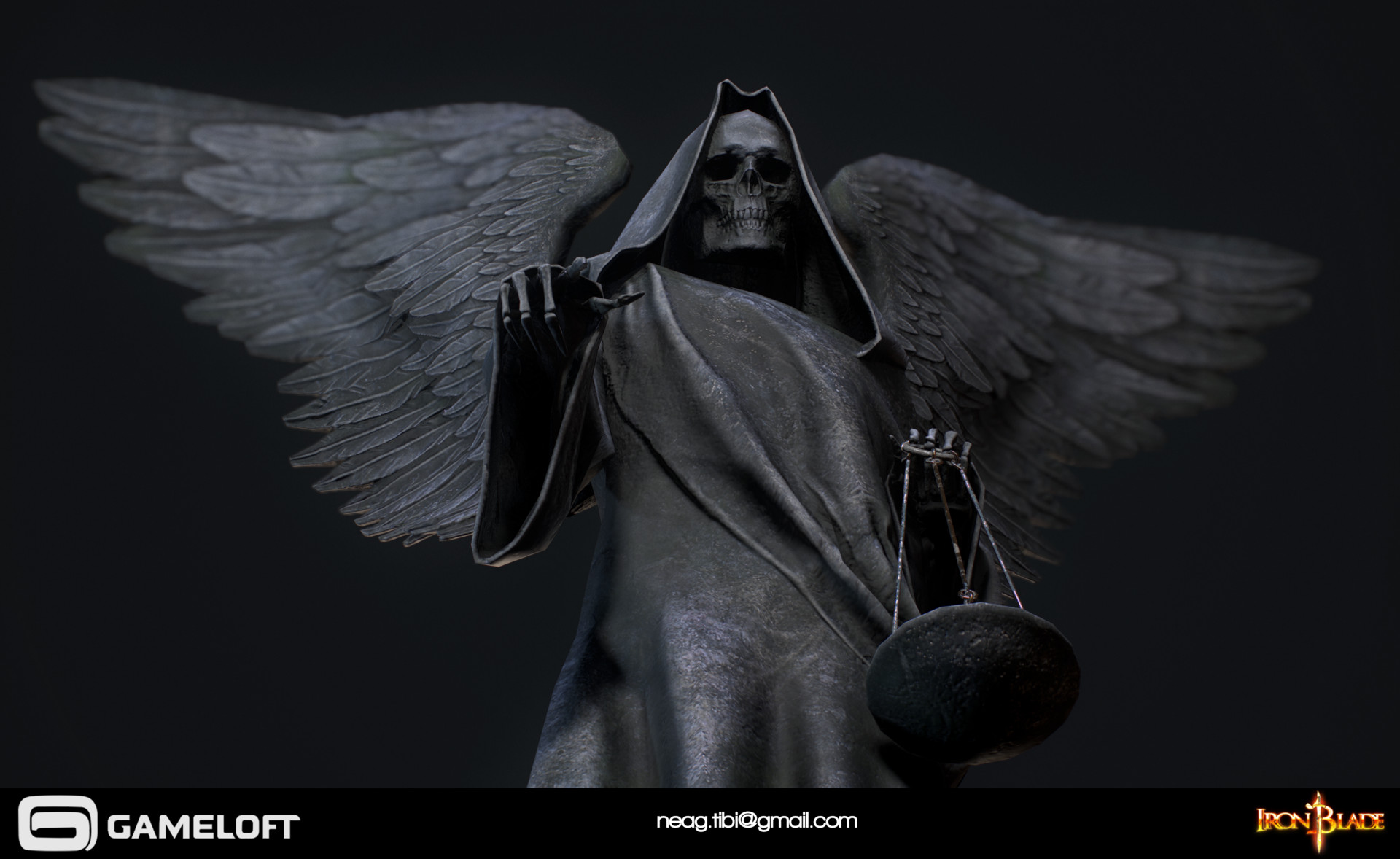 Tibi neag tibi neag iron blade death statue low poly 04