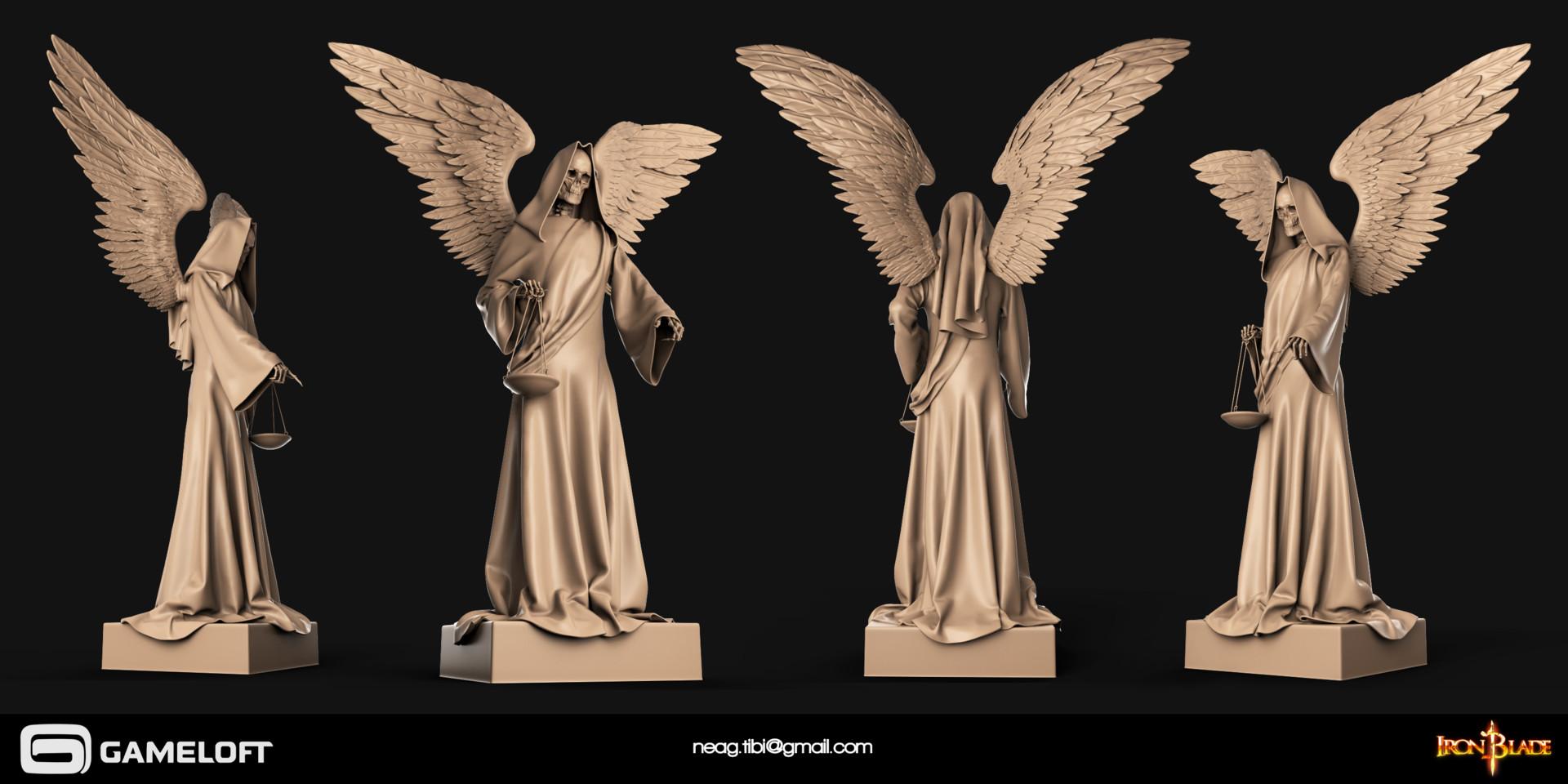 Tibi neag tibi neag iron blade death statue high poly
