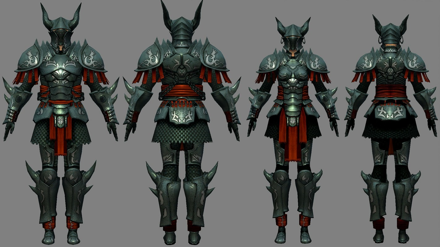 I modeled and textured the armorset based on a design by Xia ( https://idrawgirls.com/ )