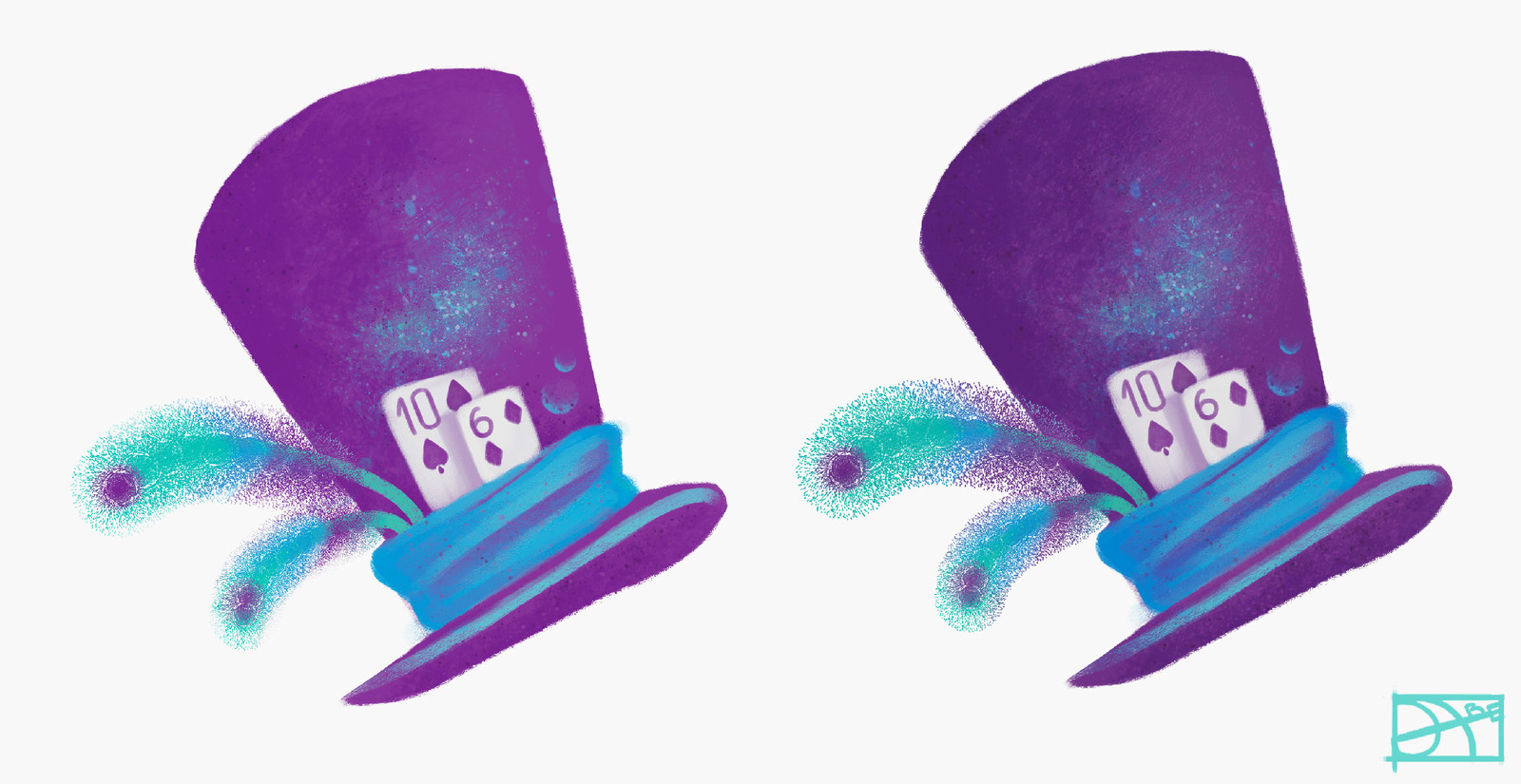 Two versions of hat (inspired by Mad Hatter from Alice in Wonderland)