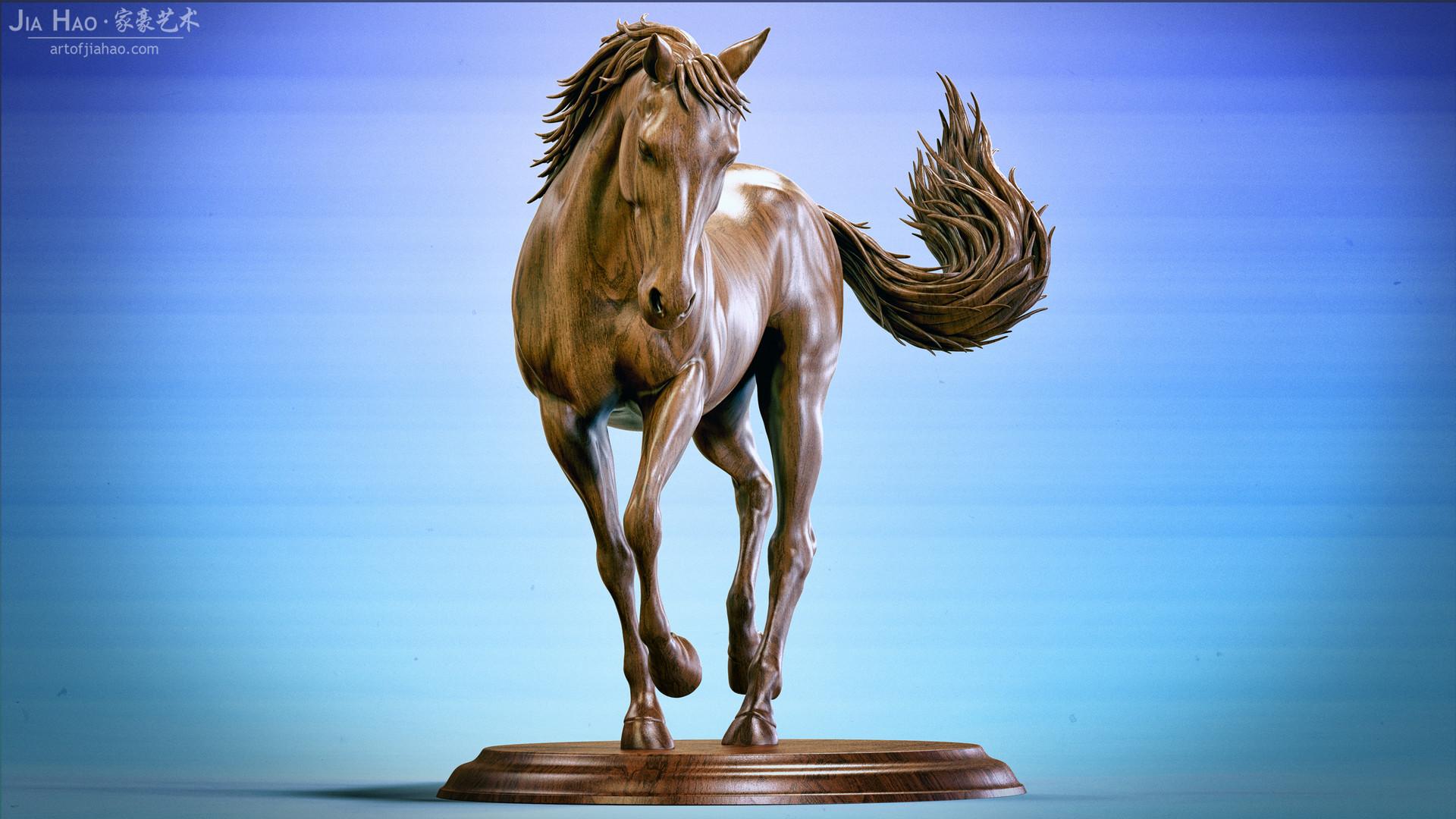 Jia hao horse sculpture comp wood 01