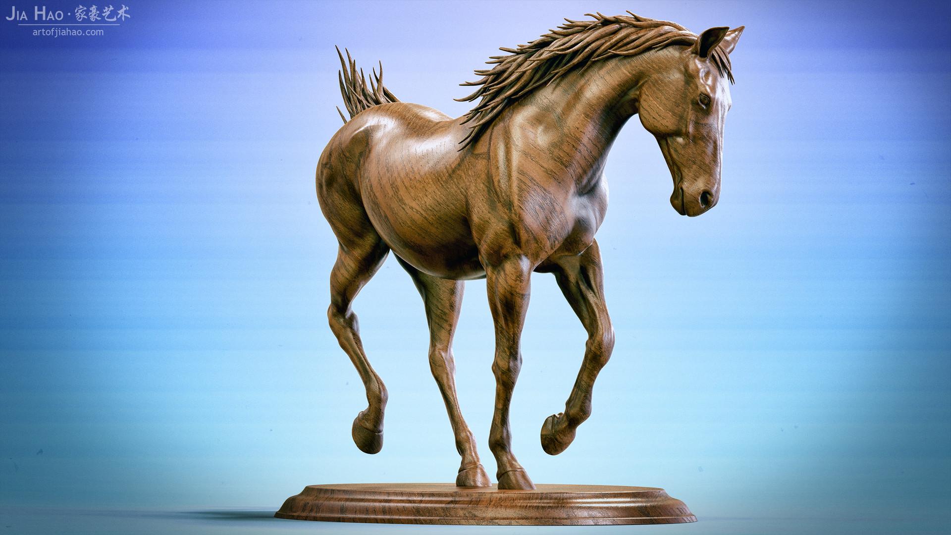 Jia hao horse sculpture comp wood 02