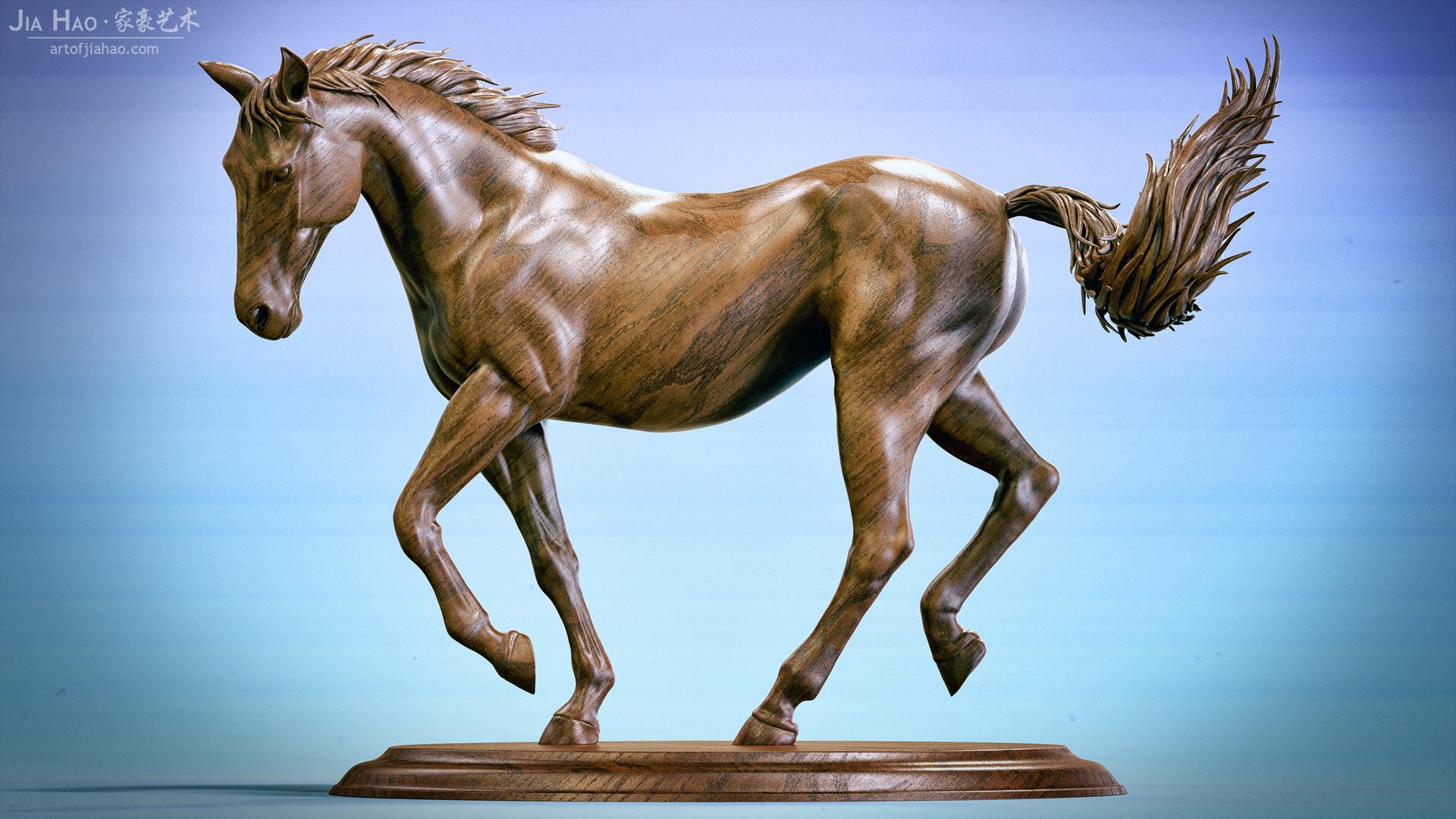 Jia hao horse sculpture comp wood 04