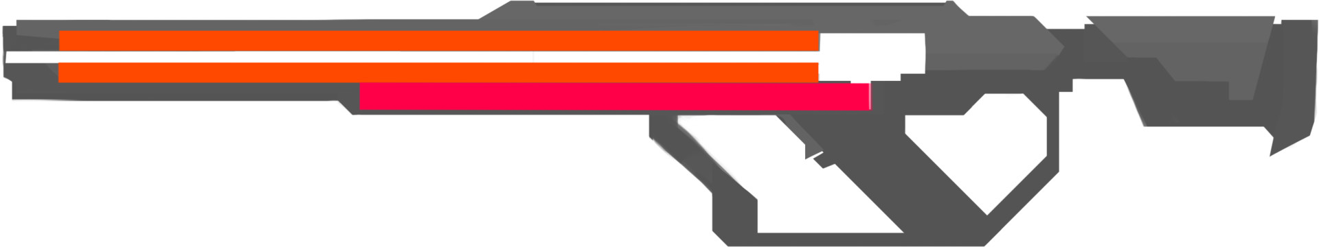 A lot of the criticism I often got when designing these weapons were ergonomics, so I took more care in implementing them. The orange denotes the railgun barrel, and the red represents the location of the horizontal magazine.