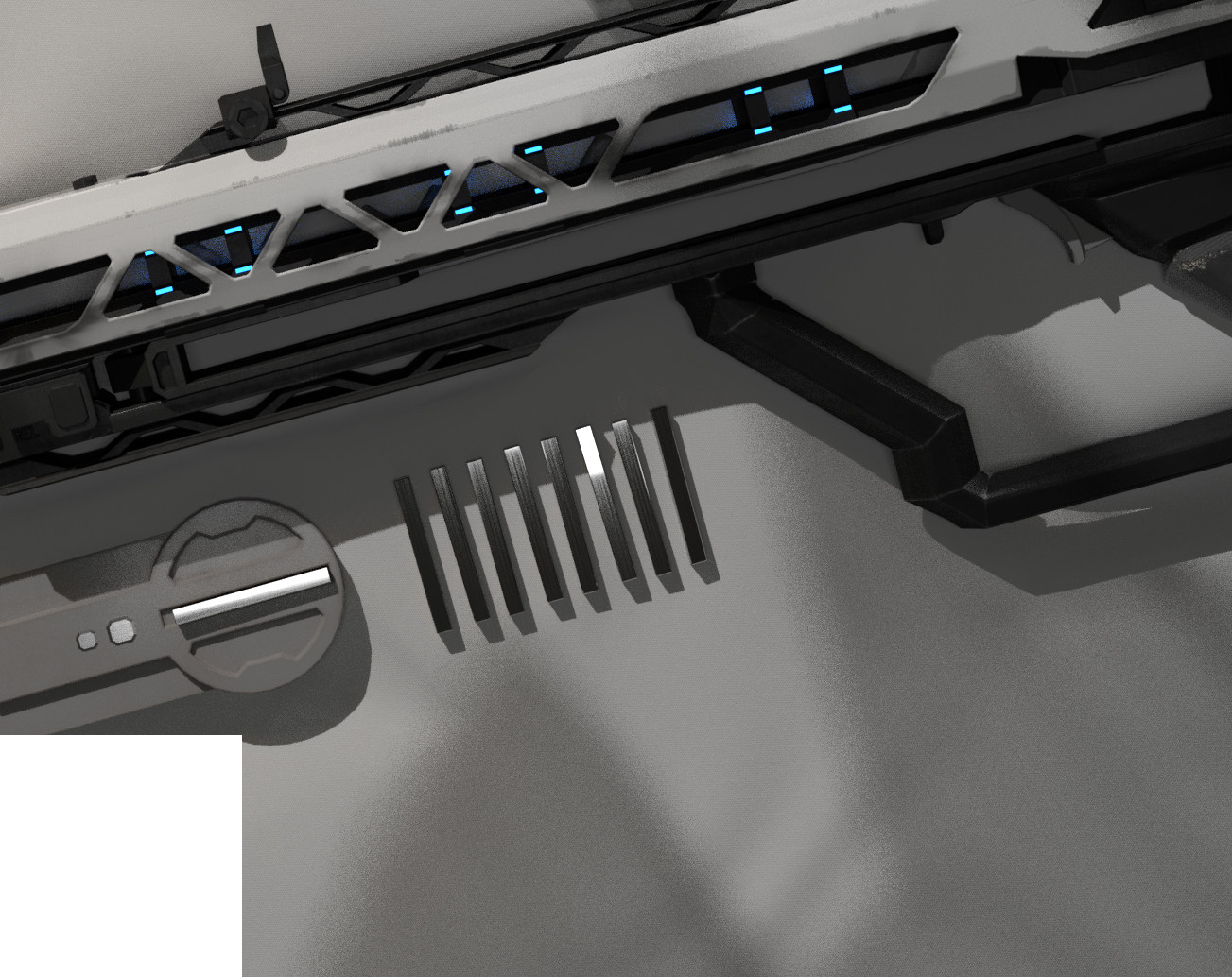 """A test render for an original composition layout of the final render, showing the magazine in better detail as well as the railgun """"cores"""" that are fired. I could not get the cloth and lighting to work though, so I settled with floating-in-the-void."""