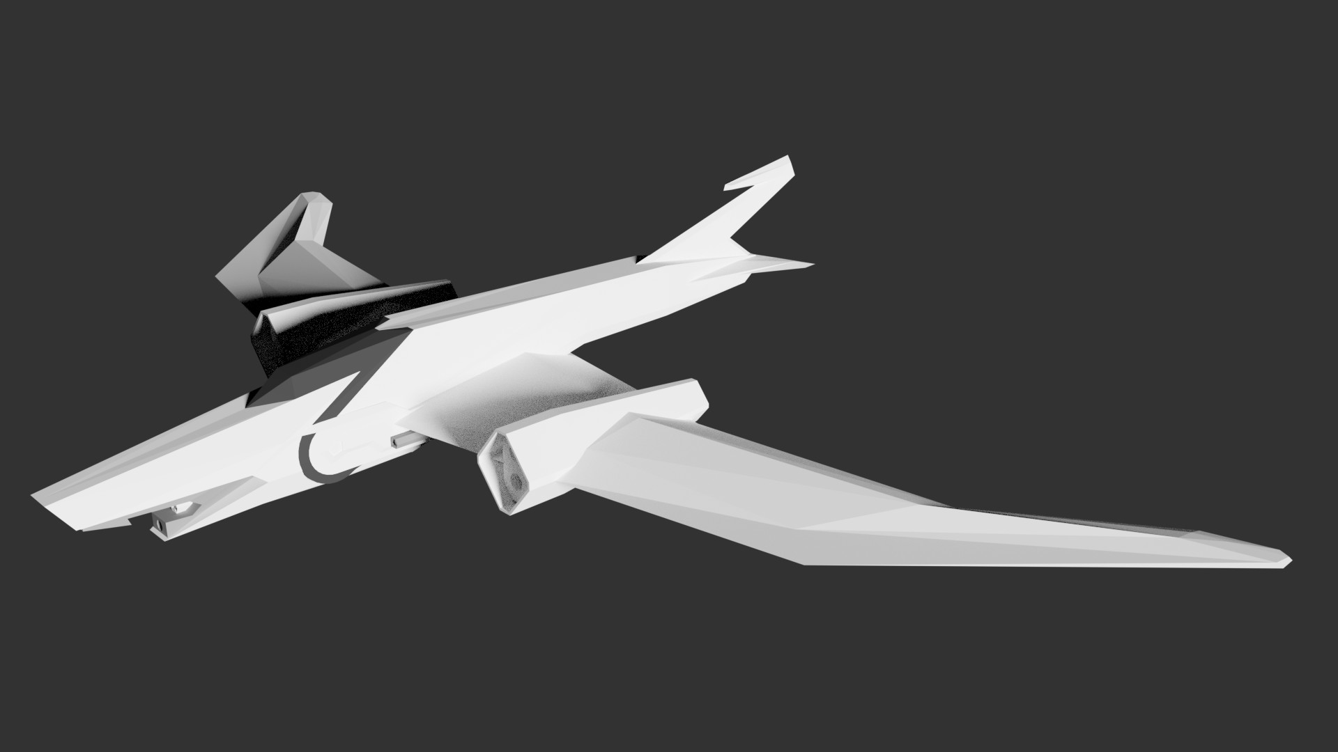 A reference model I made to better grasp the perspective and form of the fighter. Much of my weapon and vehicle concept designs tend to begin with a rough 3D model.