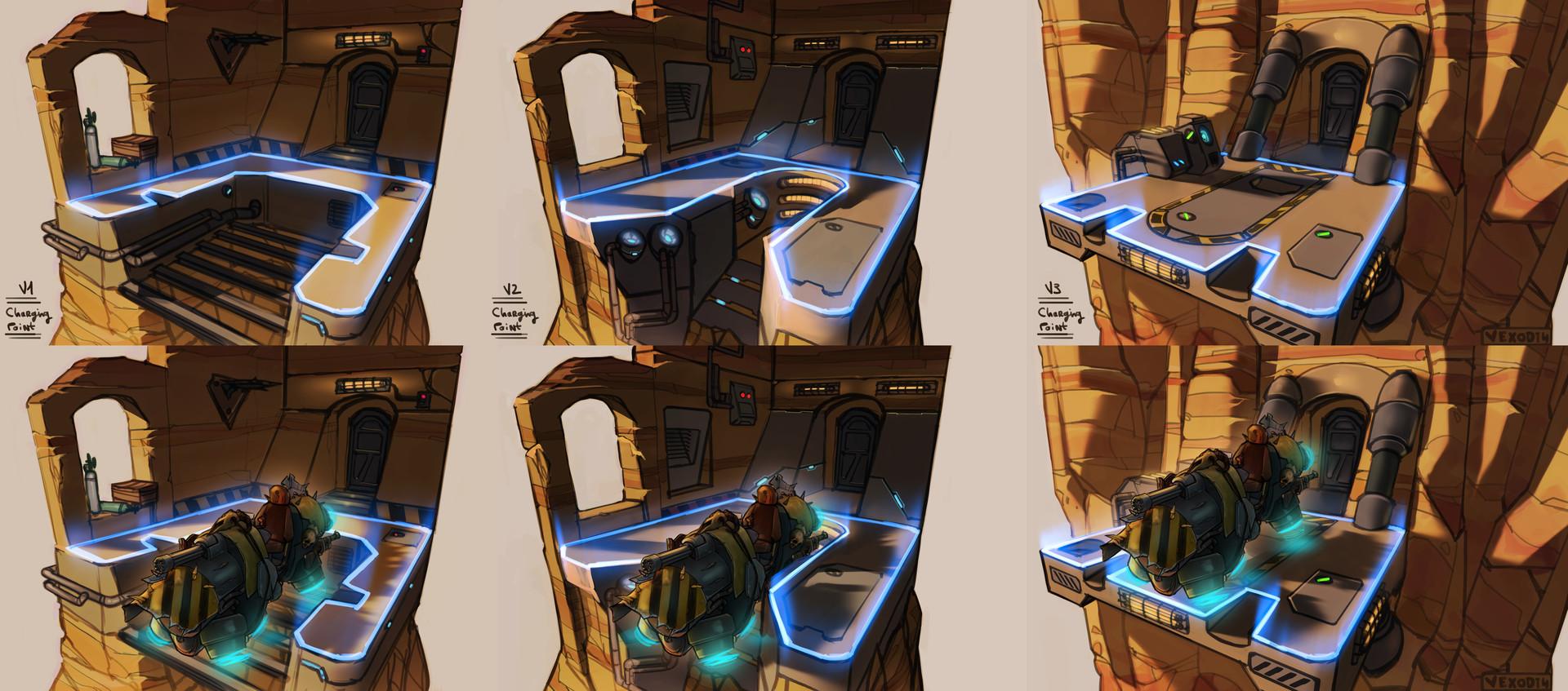 Etienne beschet conceptart flyingvehiclestation v123 chargingpoint