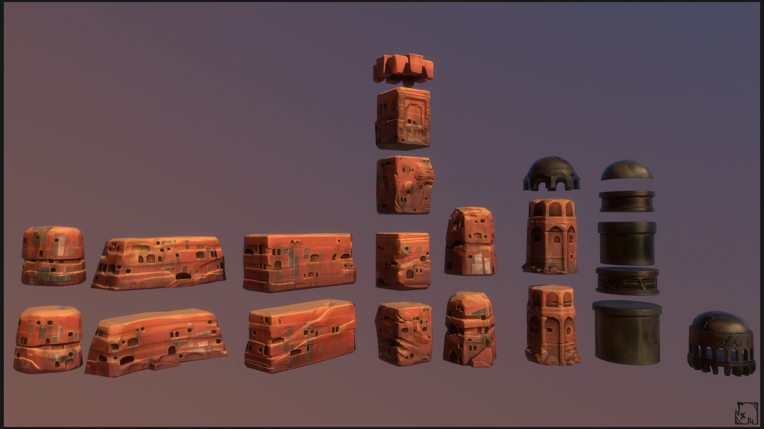 "Far Buildings - The other big part of the far environment, used to compose the Arena's City. Please Note that all ""rocky"" ones were duplicated in order to show all of their sides"