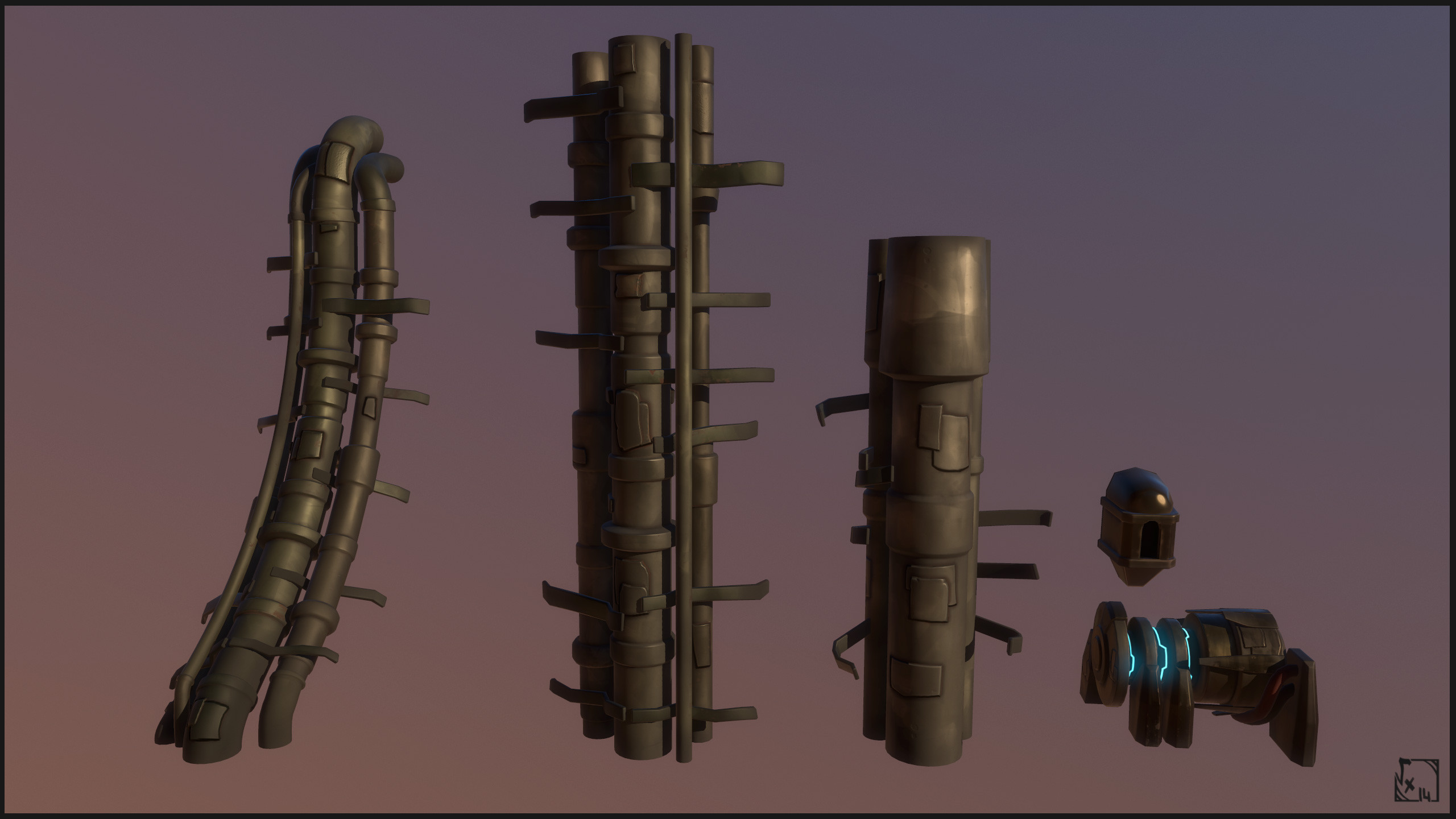 "Far Pipes - Used a lot in the far Environment to break to ""rockiness"" present everywhere and add a soft touch of technology"