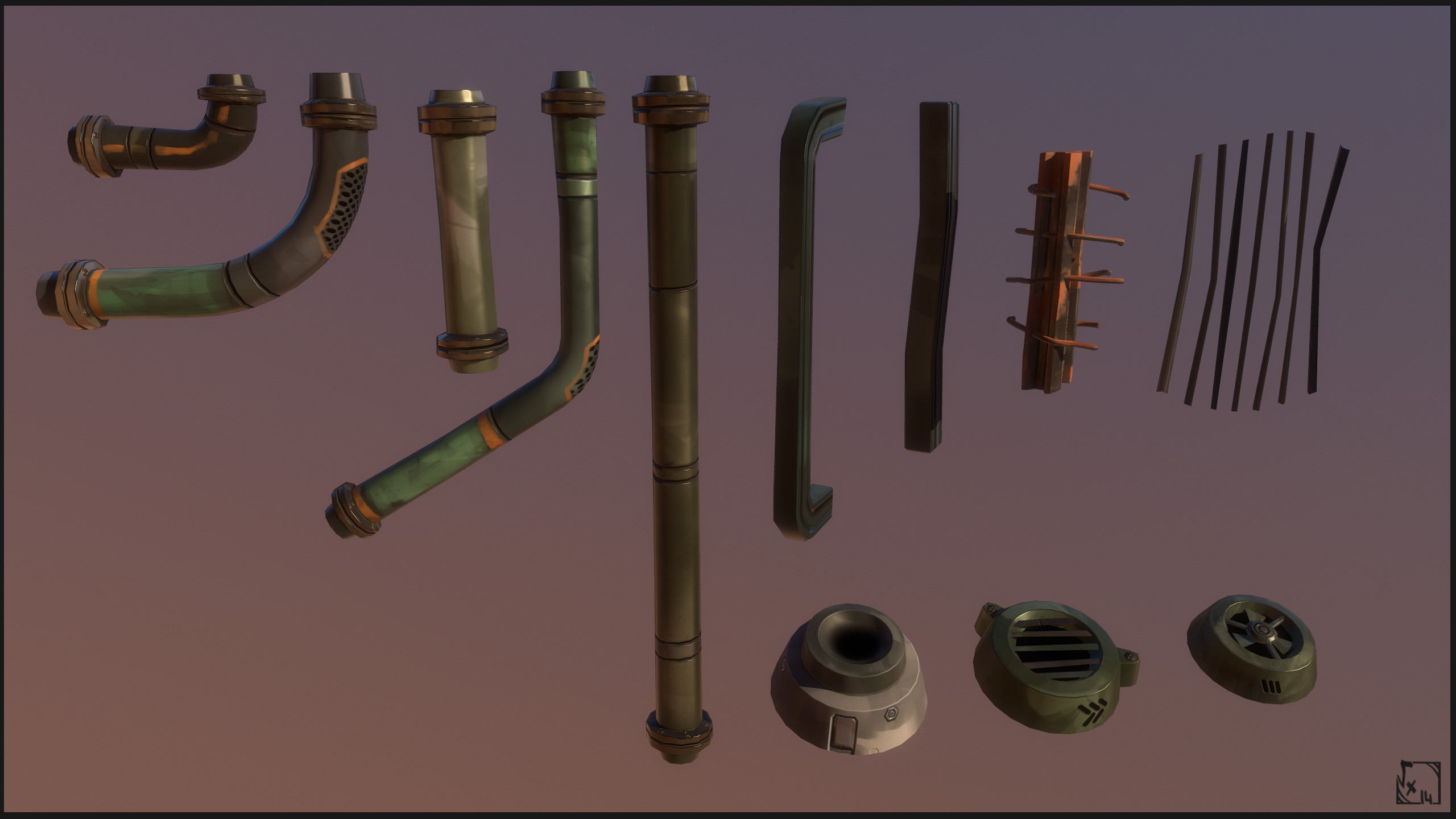 "Hole Props - Used to refine borders of the fighting zone, and make the hole deeper by using kind of ""diving pipes"", the rails were used to fake stairs on the background environment or make some 